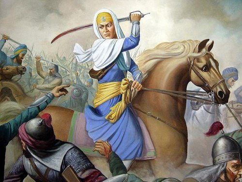 Mai Bhag Kaur Ji and the 40 Muktay in Battle